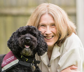 Maggie and hearing dog Jamie