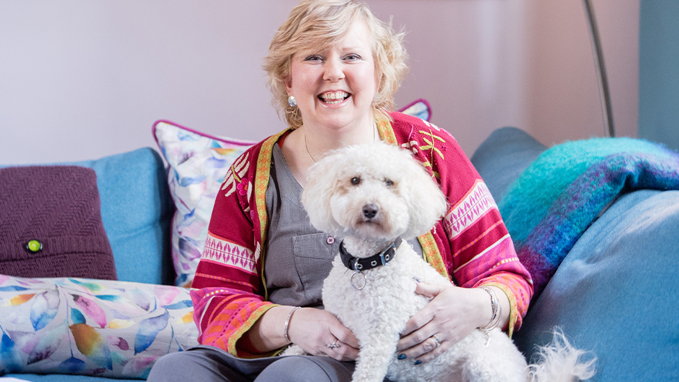 Sarah and hearing dog Primrose