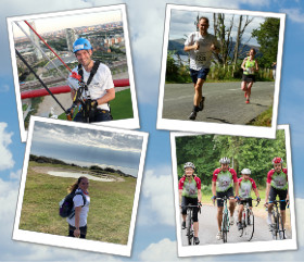 a photo collage of people doing cycling, hiking, running and abseiling challenges.