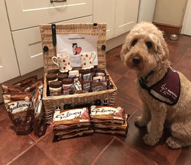 Hearing Dog Rusty and a hamper of Galaxy Chocolate