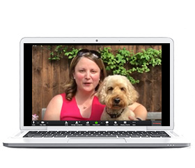 hearing dogs volunteer presenting a talk through a laptop display