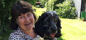 Margo and cocker spaniel hearing dog Linus