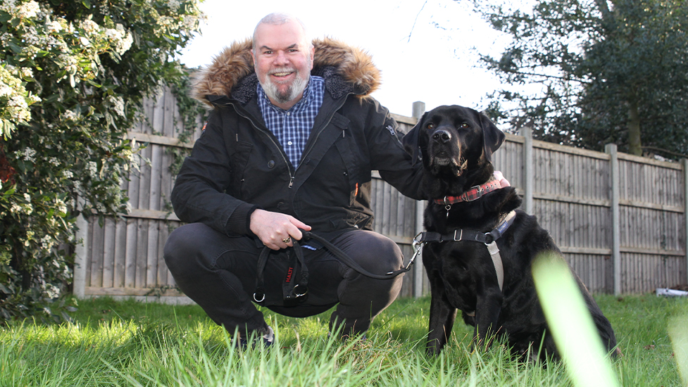 Garry Bushell and sound support dog Ozzie