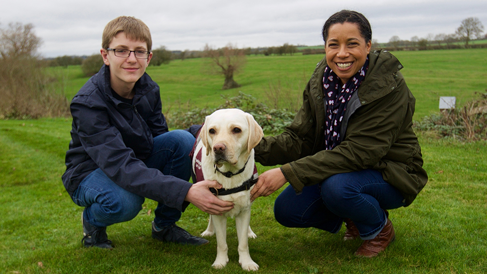 Oscar Williamson, Margherita Taylor and hearing dog Rosie