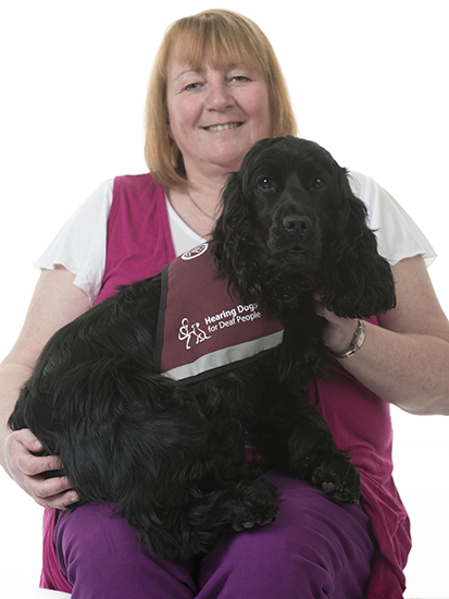 Beth Bates and hearing dog Biscuit
