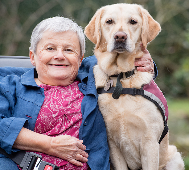 Sally Harris and her hearing dog Babs