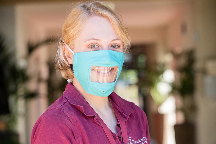 Our deaf friendly face mask being worn