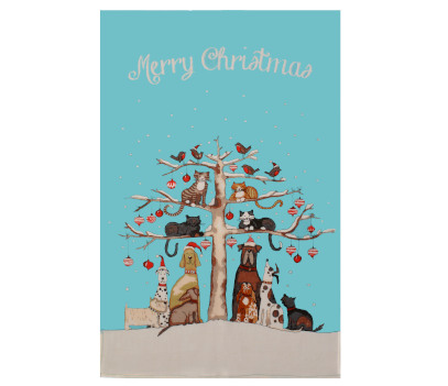 Christmas tea towel featuring cats and robins sitting on tree branches with dogs beneath.