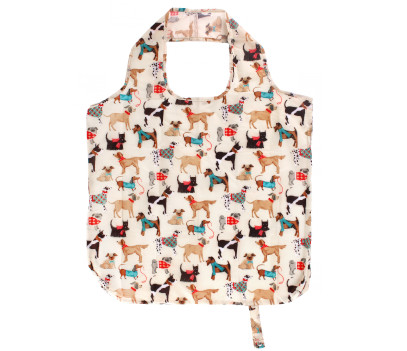 Cream coloured bag covered with images of dogs wearing scarves and jumpers