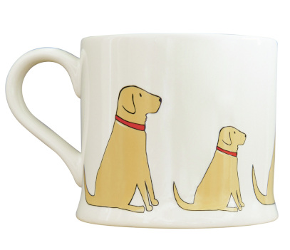 White mug with repeating golden labrador patterm around the outside