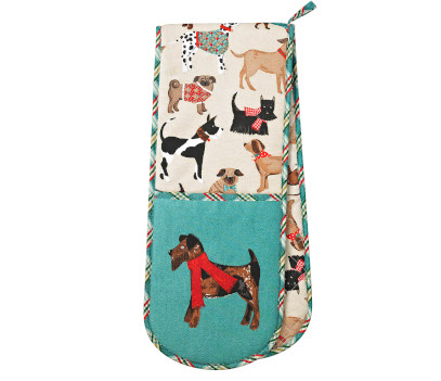 Blue and cream coloured oven glove, with images of dogs. the glove sections have a dog wearing a red scarf on them