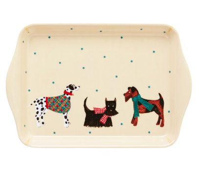 Cream coloured tray with small green spots and three dogs across the face
