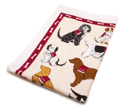 Cotton tea towel with cartoon pictures of hearing dogs