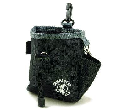 black dog treat bag with drawstring