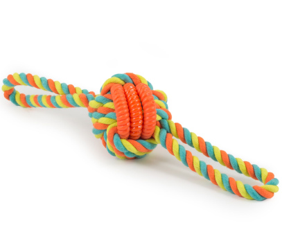 colourful rope ball/knot dog toy with strands of orange, blue and green rope