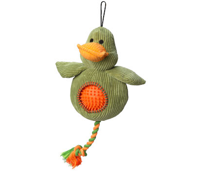 Green duck shaped dog toy with orange spiky ball inside tummy area