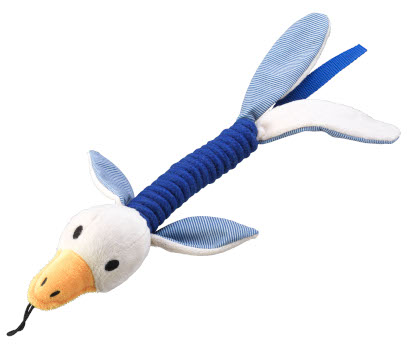 Dog tug toy made to resemble a duck with blue and white colour scheme