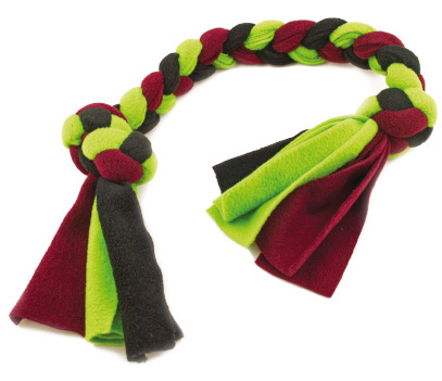 Felt dog tugger with three colours of felt, burgundy red, black and green
