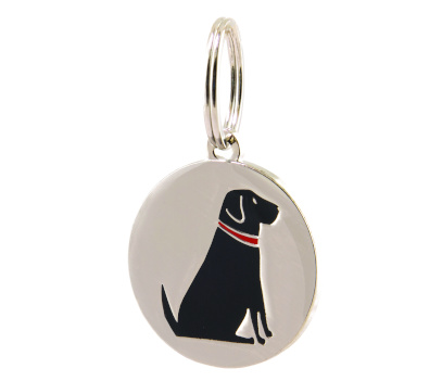 silver dog tag with a black labrador design on front