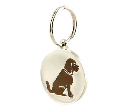 silver doggy name tag with brown cockapoo design on the front