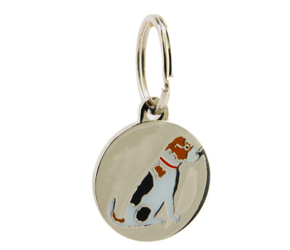 silver dog id tag with jack russell design on the front. the jack russell is whit with black and brown patches and has a red collar