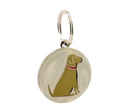 silver plated dog name tag with yellow labrador design on front