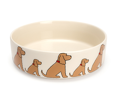 large white dog bowl repeating cocker spaniel design around the outside