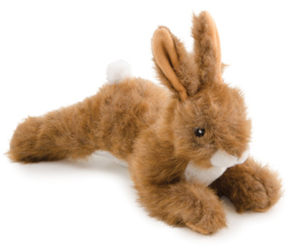 Plush hare dog toy with brown and white fur