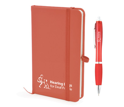 A5 lined notebook with red pen