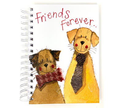 Front cover of notebook with two cute illustrated dogs wearing a necktie and bow tie