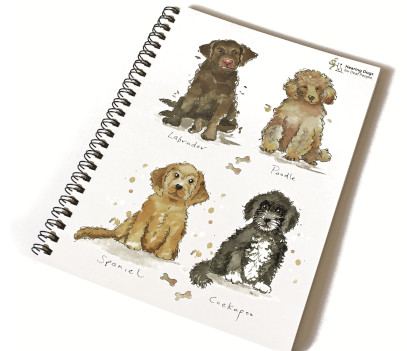 spiral bound notepad with illustrations of 4 dogs on the cover, a poodle, a spaniel, a labrador and a cockpoo