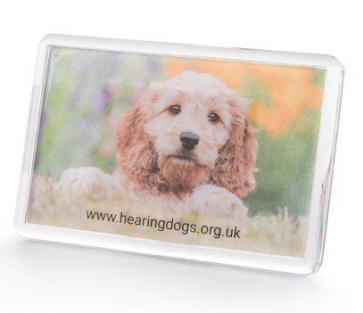 reactangular fridge magnet with photo of hearing dog Bea