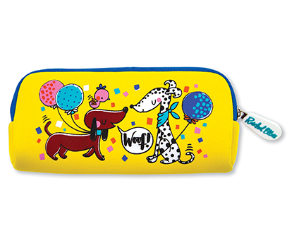 "Yellow pencil case with 2 cartoon style dogs. One dog has a speech bubble saying ""woof""."