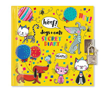 Diary cover with illustrated cats and dogs and a small padlock.
