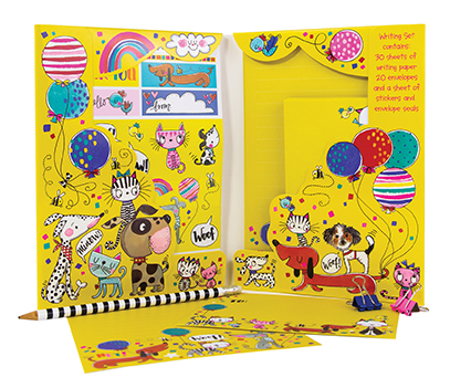 Colourful children's writing set with cute illustrated cats and dogs