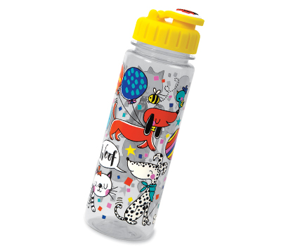 Clear drinking bottle with colourful illustrated cat and dog design. The lid is bright yellow.